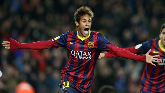 Neymar celebrates scoring against Villarreal last season / PHOTO: FCB-Archive