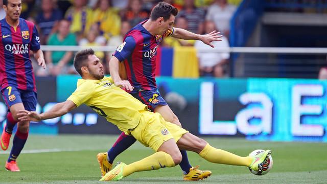 Messi in action earlier in the season at El Mardrigal. PHOTO: MIGUEL RUIZ - FCB