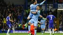 David Silva scores the tying goal against Chelsea at Stamford Bridge on Saturday.