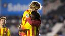 Dongou i Halilovic celebran uno de los cuatro goles del Barça B al Sabadell / FOTO: GERMÁN PARGA - FCB