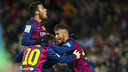 Rafinha, Messi et Neymar lors du troisième but. PHOTO: MIGUEL RUIZ - FCB