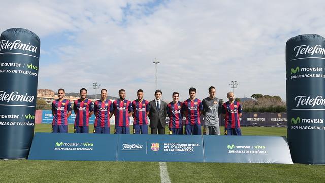 Barça's South American players with the Telefónica delegate councillor José María Álvarez-Pallete / MIGUEL RUIZ-FCB
