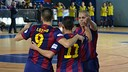 The Barça players celebrating against Uruguay Tenerife / URUGUAY TENERIFE FS