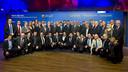 Josep M. Bartomeu, Jordi Cardoner i Pau Vilanova, amb els representats de les 30 federacions territorials / VÍCTOR SALGADO - FCB