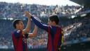 Pedro and Suárez celebrate a goal. / MIGUEL RUIZ-FCB