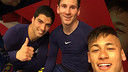 Suárez, Messi and Neymar were all smiles after the game.