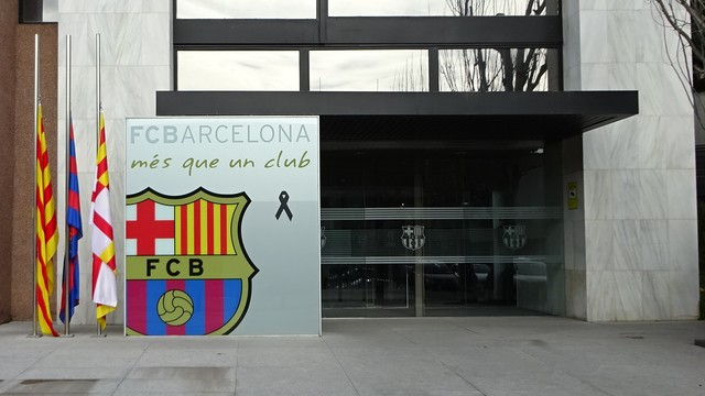 The flags outside the FC Barcelona offices