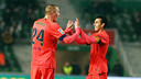 Jérémy Mathieu high-fives Pedro after scoring in Barça's 4–0 win at Elche in the Spanish Cup. / MIGUEL RUIZ-FCB