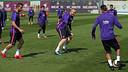 Jérémy Mathieu, the hero at Vigo, trains on Monday morning. / MIGUEL RUIZ-FCB