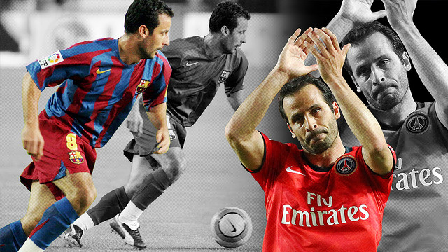 Ludovic Giuly, in his days with both FC Barcelona and Paris Saint-Germain. / FCB