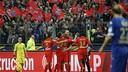 PSG players celebrate one of Ibrahimovic's goals / PSG.FR
