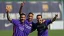 Alves, Neymar and Pedro in training / MIGUEL RUIZ-FCB
