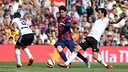 Leo Messi scored his 400th career goal in the final minute of injury time on Saturday. / MIGUEL RUIZ