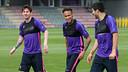 Messi, Neymar Jr et Suárez, pendant un entrainement / MIGUEL RUIZ-FCB