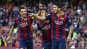 Xavi, Rafinha et Suárez, contre Getafe / MIGUEL RUIZ-FCB