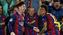 Neymar Jr celebrates after Leo Messi scored Barça's second / MIGUEL RUIZ - FCB