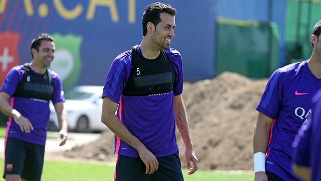 Sergio Busquets at training on Thursday / MIGUEL RUIZ-FCB