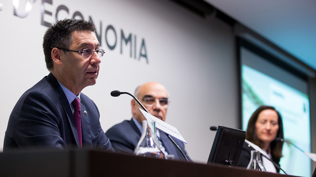 Bartomeu, Alemany and Andueza during the event / GERMÁN PARGA-FCB