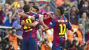 Messi, Rafinha et Neymar célèbrent le but du premier / VÍCTOR PARGA-FCB