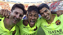 Messi, Neymar Jr and Suárez have bettered the stats of any other front three in Europe/ MIGUEL RUIZ-FCB