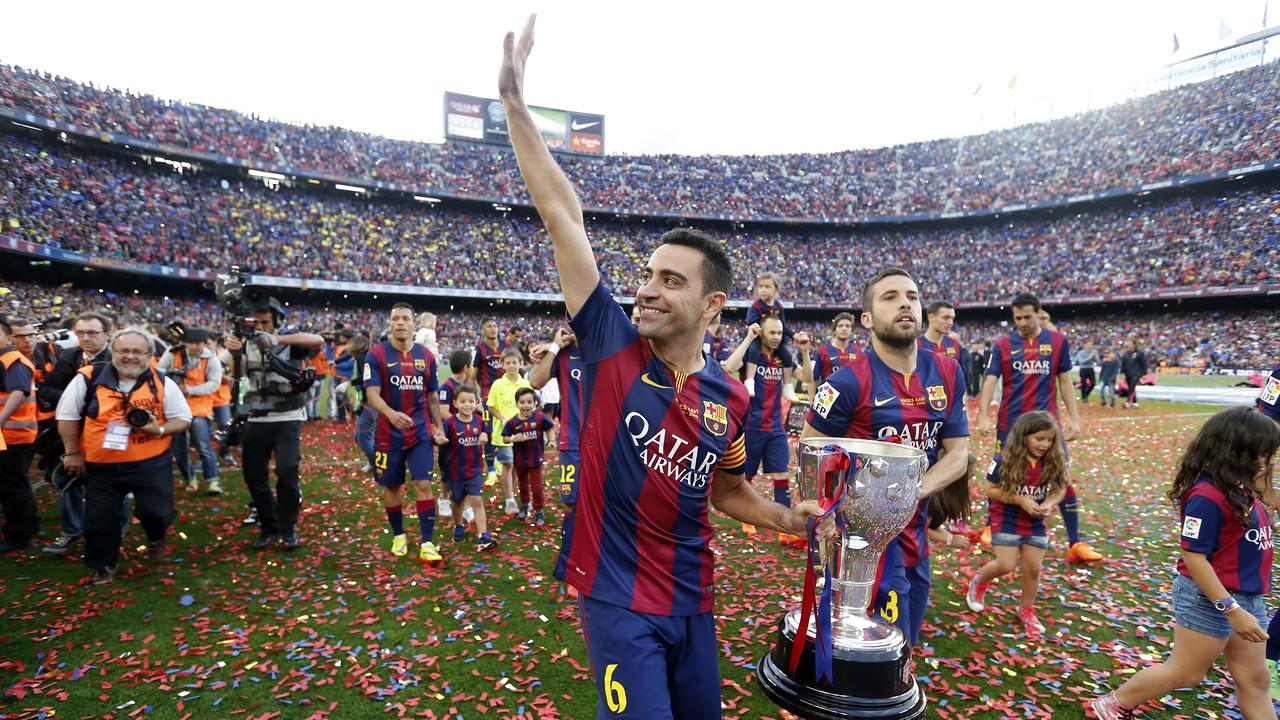 Xavi, amb la seva vuitena Lliga / MIGUEL RUIZ - FCB