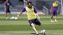 Leo Messi, en una acció de l'entrenament d'aquest divendres / MIGUEL RUIZ - FCB