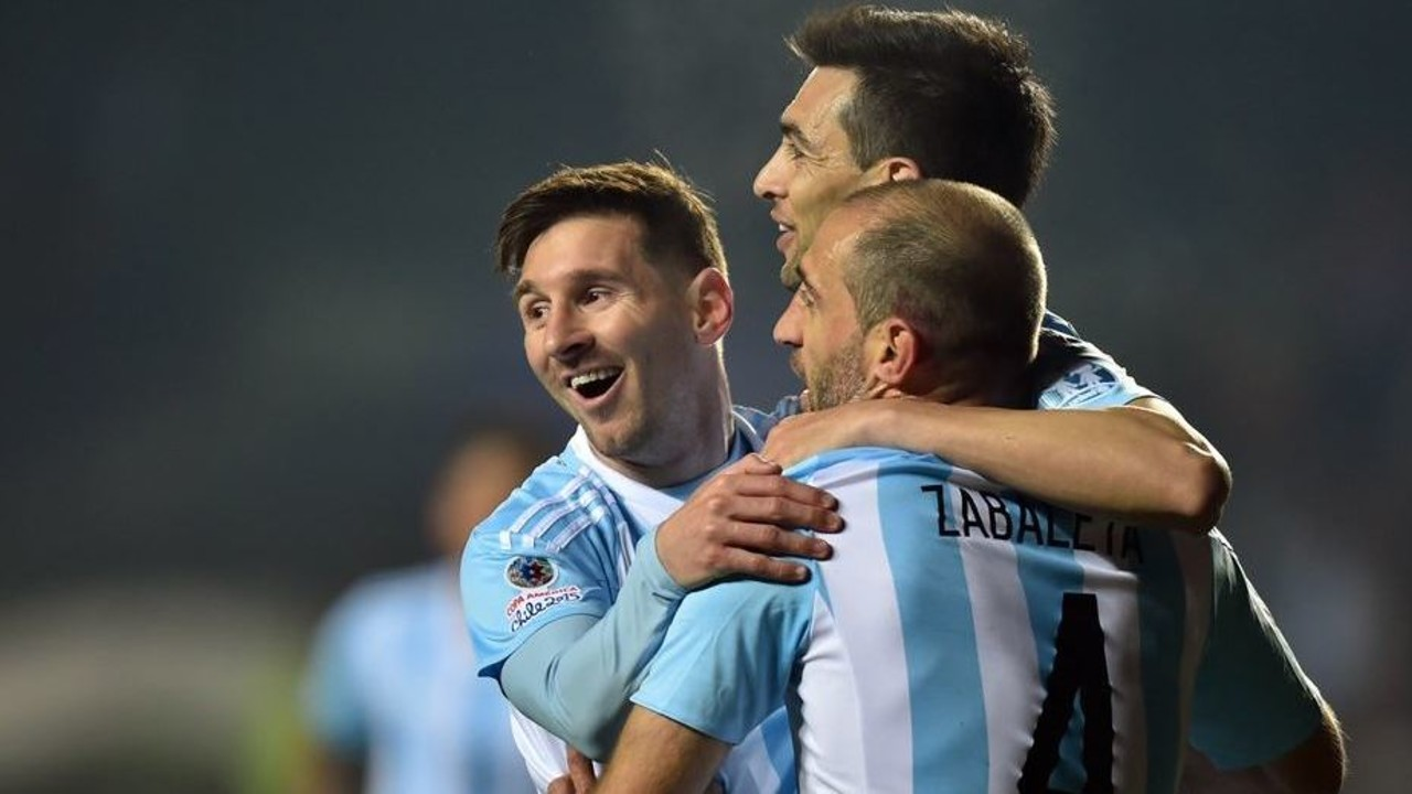 Messi celebrating a goal against Paraguay in the recent Copa América / FIFA.COM