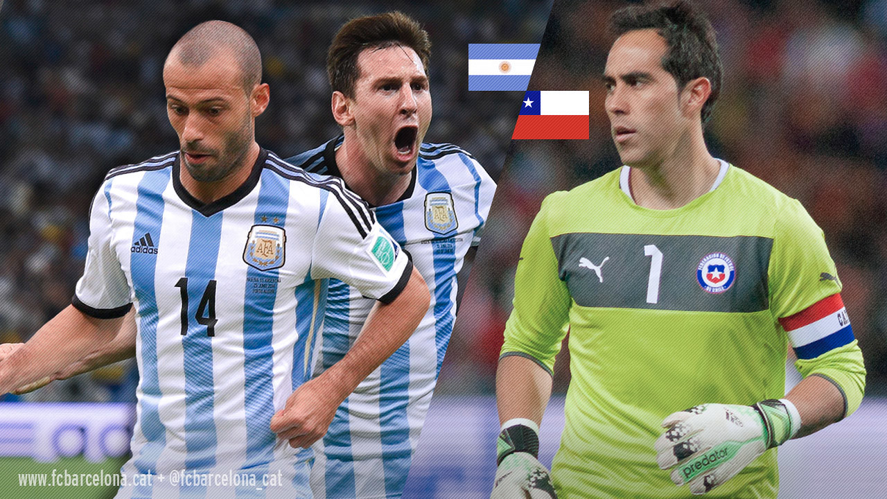 Claudio Bravo faces Messi and Mascherano in the Copa America final / FCB