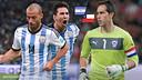 Claudio Bravo, contra Messi y Mascherano en la final de la Copa América / FCB