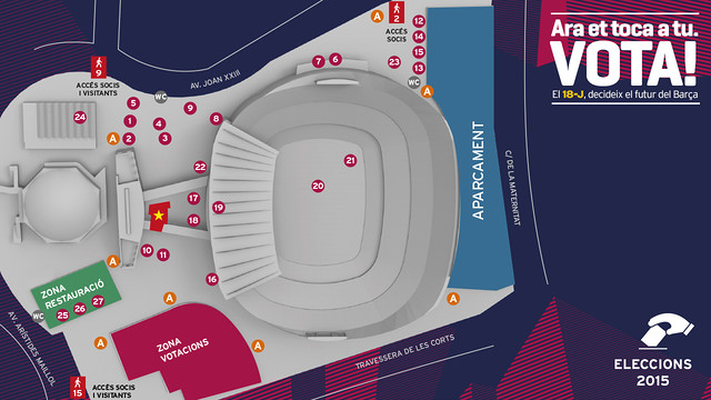 Map of activities at the Camp Nou on election day