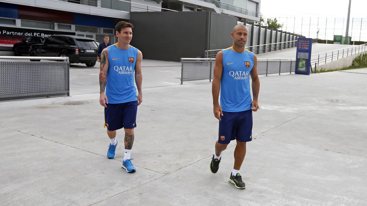 Messi i Mascherano s'han incorporat abans d'hora / MIGUEL RUIZ-FCB