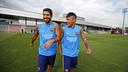 Luis Suárez y Neymar Jr, en el entrenamiento / MIGUEL RUIZ-FCB