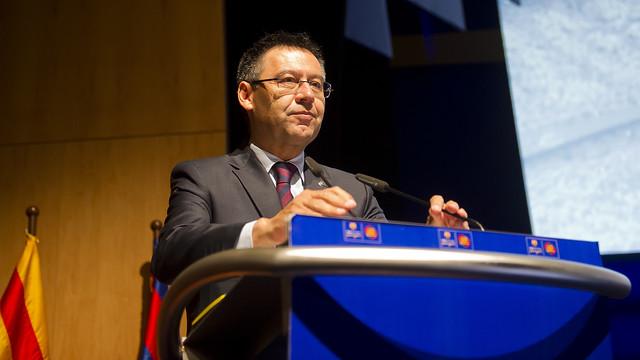 Josep Maria Bartomeu speaking to the supporters clubs at their 36th congress / VÍCTOR SALGADO-FCB