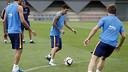 Leo Messi, durant l'entrenament
