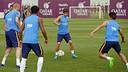 Sergi Roberto, durante el entrenamiento de esta mañana / MIGUEL RUIZ - FCB