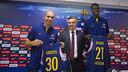 Arroyo and Diagne with Creus in the Palau Blaugrana / Víctor Salgado - FCB