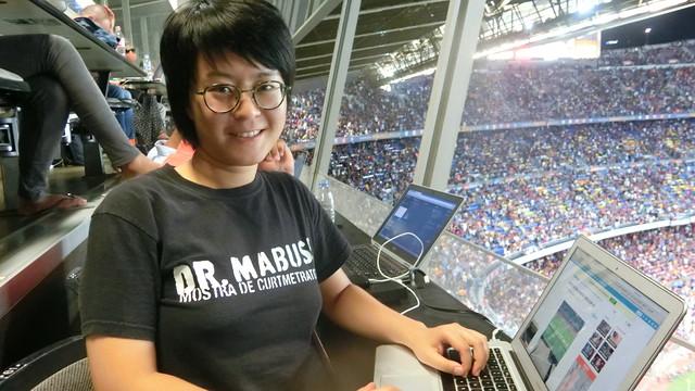 Tianqi Zhang follows Barça's games from the press box at Camp Nou. / FCB