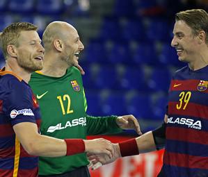 Sigurdsson, Saric i Jicha, tres jugadors del Barça Lassa que han viatjat a Dinamarca / FOTO:MIGUEL RUIZ-ARXIU FCB