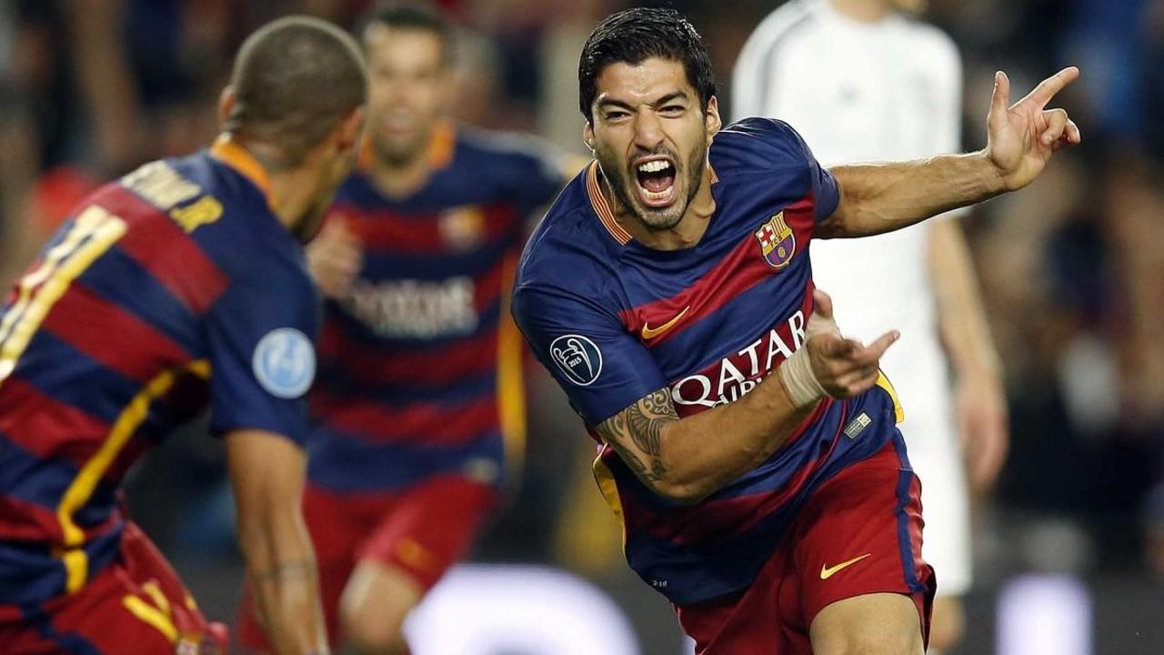 Suárez celebrting his brilliant goal against Bayer Leverkusen / MIGUEL RUIZ-FCB