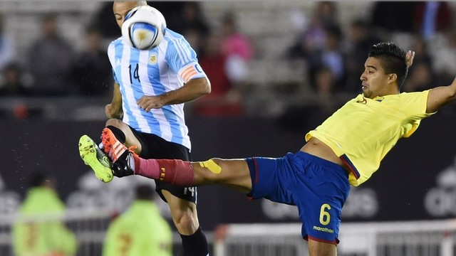 FC Barcelona defender Javier Mascherano and Argentina didn't see Ecuador coming on Thursday night. / FIFA.COM