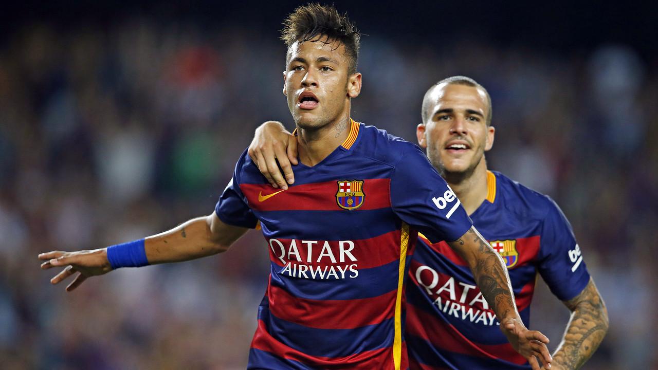 Neymar Jr celebrates one of his 58 goals so far for the team / MIGUEL RUIZ - FCB