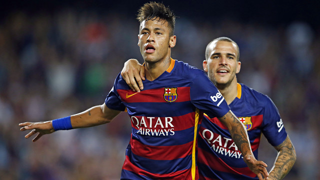 Neymar Jr celebrates one of his 58 goals so far for the team / MIGUEL RUIZ - FCB
