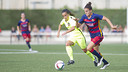 Melanie dribbles up the field in Barça's last game at the Ciutat Esportiva. / VÍCTOR SALGADO - FCB