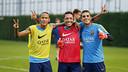 Neymar Jr, Adriano y Masip, al final del entrenamiento / MIGUEL RUIZ - FCB
