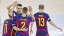 Lozano i Aicardo celebren el tercer gol del Barça Lassa / VÍCTOR SALGADO - FCB