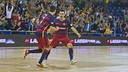 Dyego and Lozano celebrating Barça's first goal / VICTOR SALGADO-FCB