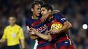 Neymar and Suárez celebrate Suárez's first goal against Eibar on Sunday. / MIGUEL RUIZ