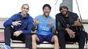 Arroyo, Alves and Samuels together at the Ciutat Esportiva / MIGUEL RUIZ - FCB