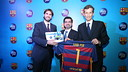 Xavier Asensi,  Zulfigar Mahar and  Nicolas de la Giroday during the  presentation of the agreement with Ambi Pur