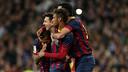 Neymar, Alves, Messi et Sergio, lors de la dernière victoire à Madrid (3-4, 2013) / MIGUEL RUIZ - FCB